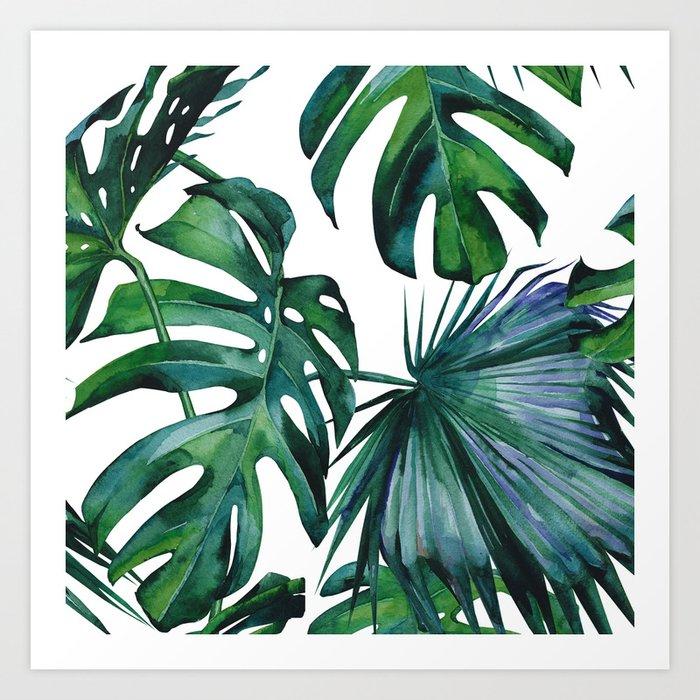 Tropical Palm Leaves Classic Art Print by followmeinstead ...
