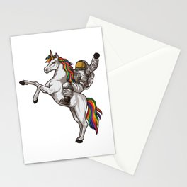 Astronaut Rides a Unicorn | Mythical Spaceman Stationery Cards