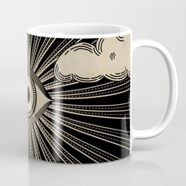 Radiant eye minimal sky with clouds - black and gold Coffee Mug