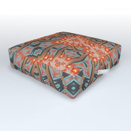 Energy Light | Orange & Teal geometry Outdoor Floor Cushion