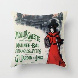 Moulin De La Galette 1896 Paris Throw Pillow