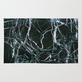 Black Marble With White Ribbons Rug