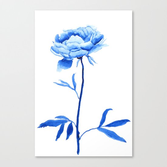 one blue peony painting Canvas Print