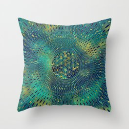 Flower of life Marble and gold Throw Pillow