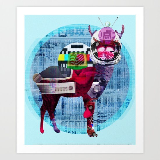 Deer Space TV Art Print