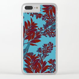 Blue Forest and Red Leaves Clear iPhone Case