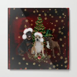 Christmas time, funny Staffordshire Bull Terrier and Rottweiler with christmas hat Metal Print