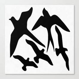 Birder Silhouette Swallow Swift and Seagulls Canvas Print