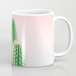 Modern colorful tropical cactus photography with pastel pink gradient Coffee Mug
