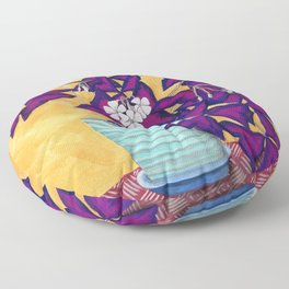 Purple Shamrock Houseplant Painting Floor Pillow