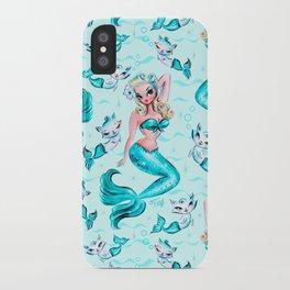 Pinup Mermaid with Merkittens iPhone Case
