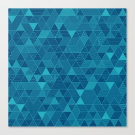 Blue on Blue Triangles Pattern Canvas Print