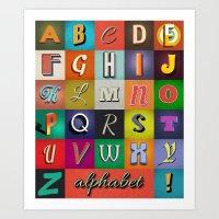 alphabet Art Prints featuring Alphabet by rob art | simple