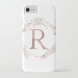 Letter R Rose Gold Pink Initial Monogram iPhone Case