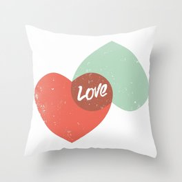 Two lovely hearts Throw Pillow