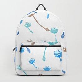 Dandelion blue & bronze (hand carved stamp) Backpack