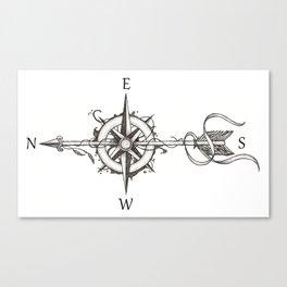 Compass with Arrow (Tattoo stule) Canvas Print