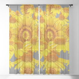 SUMMER YELLOW SUNFLOWERS GREY ART Sheer Curtain