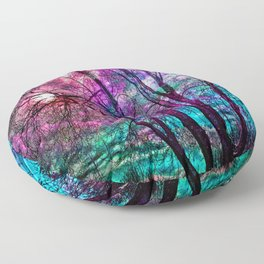 Purple teal forest Floor Pillow