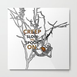 "Halloween sloth ""creep slow and spook on."" Tree Metal Print"