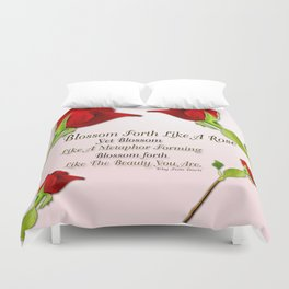 Red, Rose And pink With Quote Duvet Cover