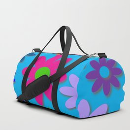 Flower Power - Blue Background - Fun Flowers - 60's Hippie Style Duffle Bag