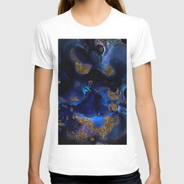 Gold and Indigo Malachite Marble T-shirt