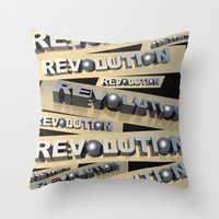 revolution Throw Pillows featuring Revolution by politics