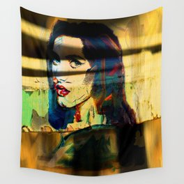 Painted Persephone On Rust Wall Tapestry