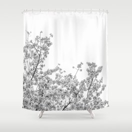 Cherry Blossoms (Black and White) Shower Curtain
