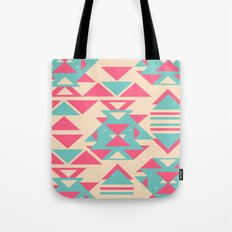 Modern Pink Turquoise Abstract Geometric Triangles Tote Bag