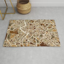 Rome Italy Street Map Rug