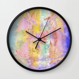 Colorful Fern Leaves W Wall Clock