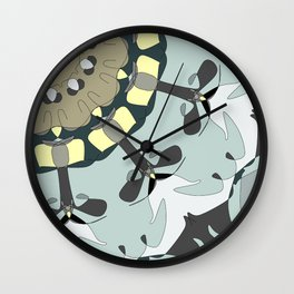 Whimsical Pattern in Blue and Gray Tone with Pale Yellow Wall Clock