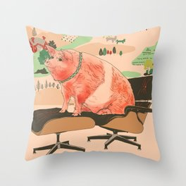 Farm Animals in Chairs #3 Pig Throw Pillow