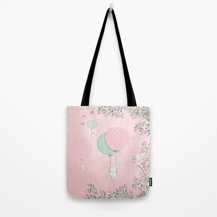 Cute flying Bunny with Balloon and Flower Rabbit Animal on pink floral background Tote Bag