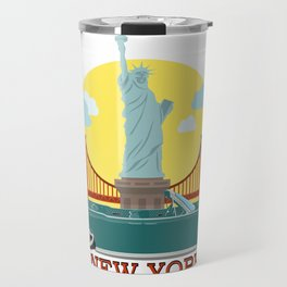 Cabriolet car on the background of the Statue of Liberty and Golden Gate Bridge Travel Mug