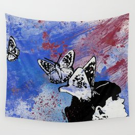 Long Gone Whisper III: Blue (butterfly girl spray paint graffiti painting) Wall Tapestry