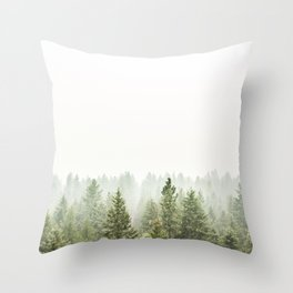 arial forest print, tree top print, wall art, woodland print, forest print, arial fog tree phoo Throw Pillow