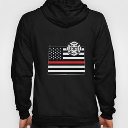Wyoming Firefighter Shield Thin Red Line Flag Hoody