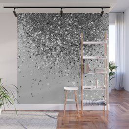 Soft Silver Gray Glitter #1 (Faux Glitter - Photography) #shiny #decor #art #society6 Wall Mural