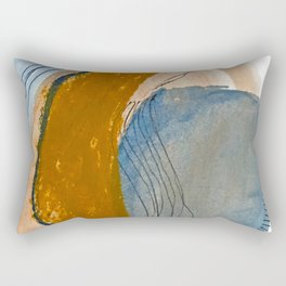 Gentle Breeze: a minimal, abstract mixed-media piece in blues and tans by Alyssa Hamilton Art Rectangular Pillow