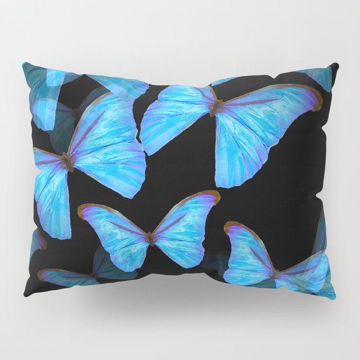 Turquoise Blue Tropical Butterflies Black Background #decor #society6 #buyart Pillow Sham