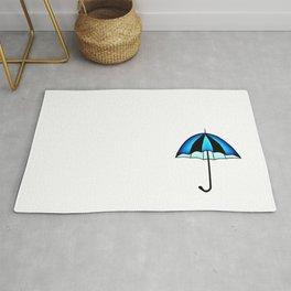 Bright Blue Black Rain Umbrella Illustration Rug