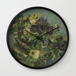 Basket of Pansies Wall Clock