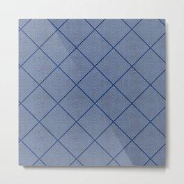 Stitched Diamond Geo in Blue Metal Print
