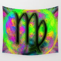 virgo Wall Tapestries featuring Virgo by Synesthetic