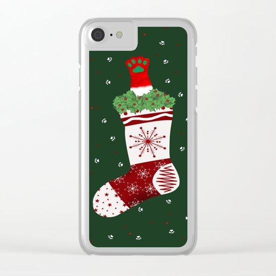 Santa Cat In Stocking Clear iPhone Case