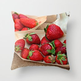 Fresh Strawberries On Wooden Plates And Garlic Bulbs Throw Pillow