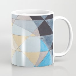 Triangle Pattern No. 14 Circles in Black, Blue and Yellow Coffee Mug